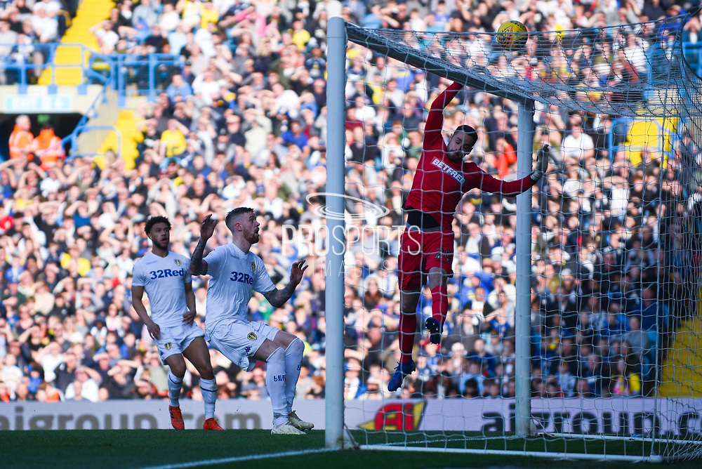 Remi Matthews of Bolton Wanderers (20) tips the ball over the bar during the EFL Sky Bet Championship match between Leeds United and Bolton Wanderers at Elland Road, Leeds, England on 23 February 2019.