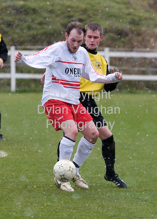 6/4/2008.Pictured in action at the Kilkenny League V Desmond League match in Castlecomer County Kilkenny yesterday was Kilkenny's Graham O' Flaherty and Desmonds Tommy Butler..Picture Dylan Vaughan.