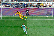 Inter Milan midfielder Joao Mario (15) scores the winning penalty ion the penalty shoot-out, during the Pre-Season Friendly match between Tottenham Hotspur and Inter Milan at Tottenham Hotspur Stadium, London, United Kingdom on 4 August 2019.