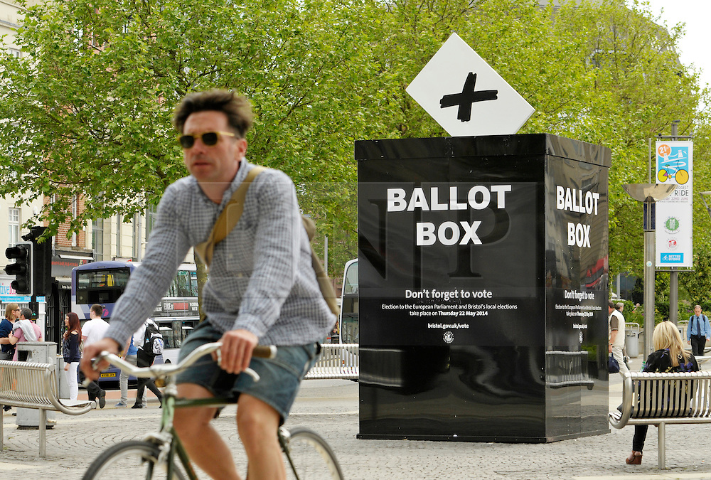 © Licensed to London News Pictures. 21/05/2014; Bristol, UK.  A giant ballot box is placed in Bristol city centre to remind people to vote in the European and in the local council elections on 22 May. <br /> Photo credit: Simon Chapman/LNP
