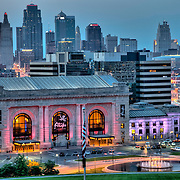Downtown Kansas City Missouri skyline and Union Station at dusk from Liberty Memorial.
