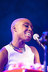Cheltenham Jazz Festival, Cheltenham, United Kingdom, Laura Mvula performs in the Jazz Arena at Cheltenham Music Festival, Friday 03 May, 2013, Photo by: i-Images