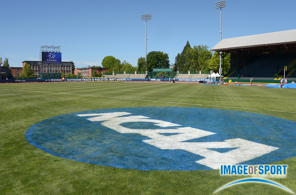 Jun 4, 2013; Eugene, OR, USA; General view of the NCAA logo at Hayward Field in advance of the 2013 NCAA Track & Field Championships.