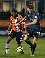 Picture by David Horn/Focus Images Ltd +44 7545 970036.05/01/2013.Andre Gray of Luton Town and Christophe Berra of Wolverhampton Wanderers during the The FA Cup match at Kenilworth Road, Luton.