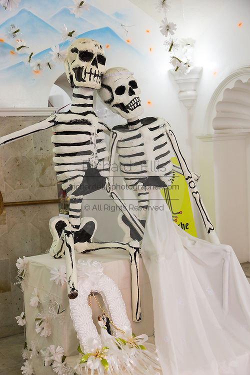 Skeleton decorations in preparation for the Day of the Dead Festival known in spanish as Día de Muertos on October 26, 2014 in Oaxaca, Mexico.