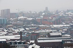 © Licensed to London News Pictures. 22/03/2013. Sheffield. Sheffield City under a blanket of snow. The residents Sheffield woke to heavy snow again this morning. There is more snow forecast for the rest of the day and tomorrow in Sheffield. Photo credit : David Mirzoeff/LNP