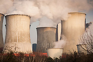 DEU, Germany, North Rhine-Westphalia, the brown coal power station Niederaussem near Bergheim, the district Auenheim. - <br /> <br /> DEU, Deutschland, Nordrhein-Westfalen, das Braunkohlekraftwerk Niederaussem bei Bergheim, Stadtteil Auenheim.
