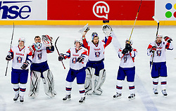 Blaz Gregorc of Slovenia, Andrej Hocevar of Slovenia, Ziga Jeglic of Slovenia, Robert Kristan of Slovenia, Mitja Robar  of Slovenia and Andrej Tavzelj of Slovenia celebrate after the ice-hockey match between Slovenia and Ukraine at IIHF World Championship DIV. I Group A Slovenia 2012, on April 19, 2012 in Arena Stozice, Ljubljana, Slovenia. Slovenia defeated Ukraine 3-2. (Photo by Vid Ponikvar / Sportida.com)