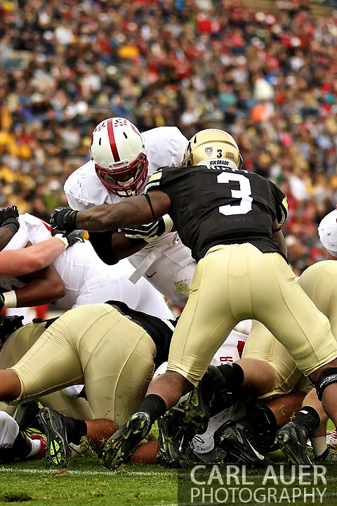 November 3, 2012:  University of Colorado Buffalos linebacker Doug Rippy (3) stops a Stanford fullback at the goal line during the NCAA Football game between the Stanford Cardinal and the University of Colorado Buffalos at Folsom Field in Boulder, CO