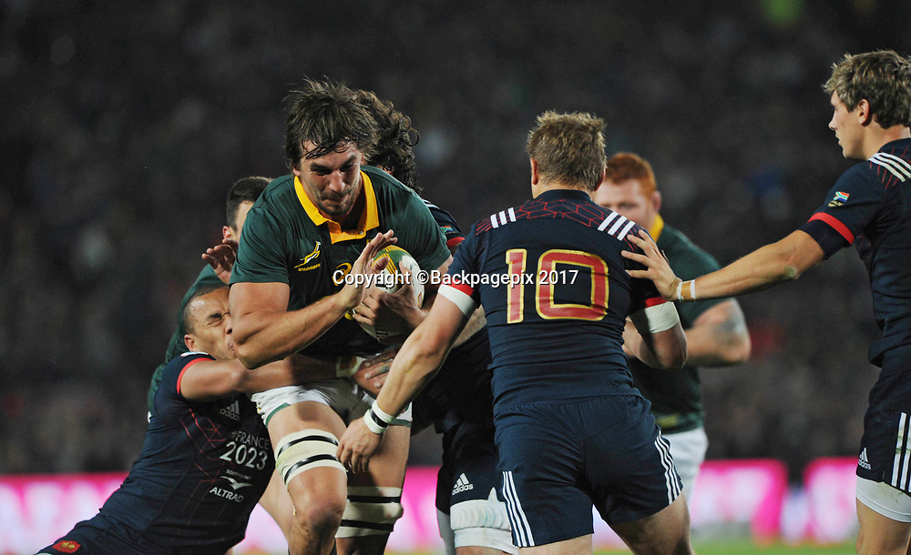 Eben Etzebeth of South Africa is tackled by Jules Plisson of France during the 2017 International Incoming Series rugby match between SA and France on 24 June 2017 at Ellis Park Stadium   © Sydney Mahlangu /BackpagePix