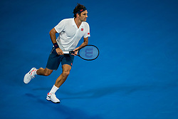 January 18, 2019 - Melbourne, VIC, U.S. - MELBOURNE, AUSTRALIA - JANUARY 18 : Roger Federer of ÊSwitzerland returns the ball during day 5 of the Australian Open on January 18 2019, at Melbourne Park in Melbourne, Australia.(Photo by Jason Heidrich/Icon Sportswire) (Credit Image: © Jason Heidrich/Icon SMI via ZUMA Press)
