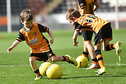 Hull City mascots practice before the Sky Bet Championship match between Hull City and Queens Park Rangers at the KC Stadium, Kingston upon Hull, England on 19 September 2015. Photo by Ian Lyall.