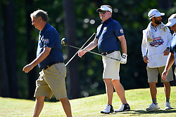 Brian Kelly walks to his cart during the Chick-fil-A Peach Bowl Challenge at the Oconee Golf Course at Reynolds Plantation, Sunday, May 1, 2018, in Greensboro, Georgia. (Dale Zanine via Abell Images for Chick-fil-A Peach Bowl Challenge)