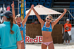 Erika and Simona Fabjan of Slovenia celebrating victory and qualification to the main draw of tournament at A1 Beach Volleyball Grand Slam tournament of Swatch FIVB World Tour 2010, on July 27, 2010 in Klagenfurt, Austria. (Photo by Matic Klansek Velej / Sportida)