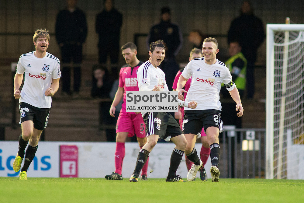 Michael Donald scoring the second goal in the Ayr United v Airdrieonians Somerset Park Ayr 21 November 2015<br /><br />(c) Russell G Sneddon / SportPix.org.uk