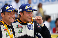 09 Volkswagen Motorsport II, Mikkelsen Andreas, Floene Ola, Volkswagen Polo Wrc, victory during the 2015 WRC World Rally Car Championship, rally of Spain from October 22h to 25th, at Salou, Spain. Photo Francois Baudin / DPPI