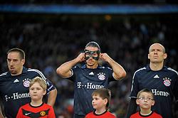 07.04.2010, Championsleague Viertelfinale R?ckspiel, Manchester United - FC Bayern M?nchen im Stadion Old Trafford in Manchester (England),  v.l. Franck Ribery (M?nchen), Martin Demichelis (M?nchen) und Arjen Robben (M?nchen).
