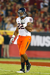 September 11, 2010; Los Angeles, CA, USA;  Virginia Cavaliers running back Keith Payne (22) warms up before the game against the Southern California Trojans at the Los Angeles Memorial Coliseum. USC defeated Virginia 17-14.