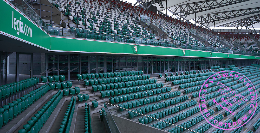 Empty tribunes at Legia's stadium on February 15, 2015 in Warsaw, Poland<br /> <br /> Picture also available in RAW (NEF) or TIFF format on special request.<br /> <br /> For editorial use only. Any commercial or promotional use requires permission.<br /> <br /> Mandatory credit:<br /> Photo by &copy; Adam Nurkiewicz / Mediasport