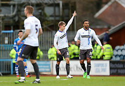 Danny Rose of Bury celebrates after scoring his goal to make it 0-1  - Mandatory byline: Matt McNulty/JMP - 06/12/2015 - Football - Spotland Stadium - Rochdale, England - Rochdale v Bury - FA Cup