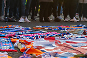 General view of the impromptu memorial at the gates of Ibrox Stadium, Glasgow, Scotland to Fernando Ricksen, the former Rangers player, who sadly passed away from Motor Neurone Disease the day before the Europa League match between Rangers FC and Feyenoord Rotterdam on 19 September 2019.