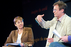 © London News Pictures. 29/05/2015. Hay-on-Wye, Powys, Wales, UK. Caroline Lucas in conversation with Andrew Simms & David Boyle (pictured) at the Hay Festival 2015. Photo credit: Graham M. Lawrence/LNP.
