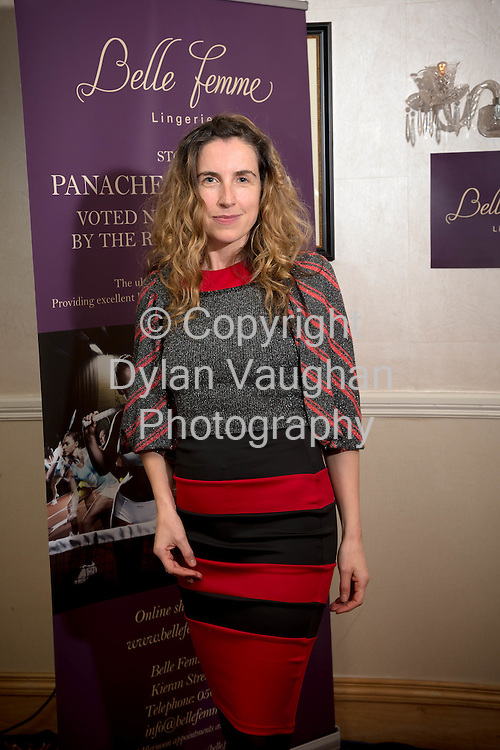 Repro free no charge for repro<br /> <br /> 27/11/14<br /> &lsquo;Get Fitted for Christmas&rsquo; with Belle Femme Lingerie and Brendan Courtney<br />  <br /> Belle Femme Lingerie Boutique hosted their &lsquo;Get Fitted for Christmas&rsquo; style evening with RTE&rsquo;s Brendan Courtney in a fun and festive lingerie showcase on Thursday, November 27th at the Rivercourt Hotel in Kilkenny City.<br /> <br /> Pictured at the event was Aislinn Murphy from Kilkenny winner of the best dressed competition.<br />  <br /> Ladies were invited to come along and enjoy a glass of mulled wine, while taking in a fashion show of the latest designs in lingerie-wear for the festive season.<br />  <br /> Brendan Courtney of RTE&rsquo;s Off The Rails fashion programme hosted the event and offered guests advice and style tips on dressing to impress for Christmas party nights.<br />  <br /> Proprietor of Belle Femme Lingerie, Bridget Kearney was also available for lingerie fitting and there were several fitting rooms on site for those who wish to &lsquo;get fitted for Christmas&rsquo;!<br /> Picture Dylan Vaughan.