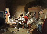 President Lincoln writing the Proclamation of Freedom, l January 1863. Lithograph after painting by Blythe.  A bust of Lincoln's Unionist predecessor Andrew Jackson is on the mantlepiece. James Buchanan's with rope round its neck hangs from the bookcase.