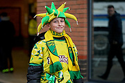 Norwich fan outside the stadium before the EFL Sky Bet Championship match between Norwich City and Blackburn Rovers at Carrow Road, Norwich, England on 27 April 2019.