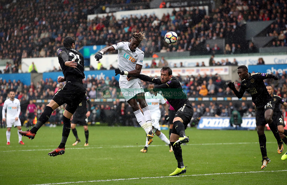 "Swansea City's Tammy Abraham heads at goal during the Premier League match at the Liberty Stadium, Swansea. PRESS ASSOCIATION Photo. Picture date: Saturday October 21, 2017. See PA story SOCCER Swansea. Photo credit should read: Nick Potts/PA Wire. RESTRICTIONS: EDITORIAL USE ONLY No use with unauthorised audio, video, data, fixture lists, club/league logos or ""live"" services. Online in-match use limited to 75 images, no video emulation. No use in betting, games or single club/league/player publications."