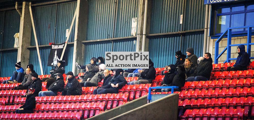 Travelling Elgin fans at the Stirling Albion v Elgin City Forthbank 05 December 2015<br /><br />(c) Russell G Sneddon / SportPix.org.uk