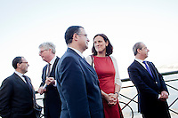 VALLETTA, MALTA - JUNE 19: (L-R) EASO (European Asylum Support Office) Management Board Chairperson Stéphane Fratacci,  EASO Executive Director Robert Visser, Malta Home Affairs Minister Carm Misfud Bonnici, EU Commissioner for Home Affairs Cecilia Malmstrom and Malta Prime Minister Lawrence Gonzi attend the inauguration of EASO at the Upper Barrakka Gardens in Valletta, Malta, on June 19, 2011. EASO, the European Asylum Support Office, was inaugurated by Prime Minister Lawrence Gonzi and European Home Affairs Commissioner Cecilia Malmström at the Upper Barrakka Gardens,Valletta.<br /> The EASO is a regulatory agency set up to improve the implementation of the Common European Asylum System, develop practical cooperation among member states on asylum, and support member states experiencing particular pressure on their asylum systems. Malta lobbied hard to make it the first EU agency based on its shores.