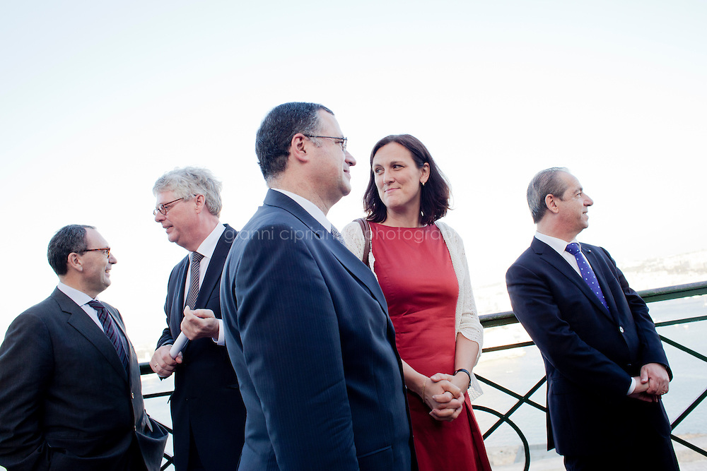 VALLETTA, MALTA - JUNE 19: (L-R) EASO (European Asylum Support Office) Management Board Chairperson St&eacute;phane Fratacci,  EASO Executive Director Robert Visser, Malta Home Affairs Minister Carm Misfud Bonnici, EU Commissioner for Home Affairs Cecilia Malmstrom and Malta Prime Minister Lawrence Gonzi attend the inauguration of EASO at the Upper Barrakka Gardens in Valletta, Malta, on June 19, 2011. EASO, the European Asylum Support Office, was inaugurated by Prime Minister Lawrence Gonzi and European Home Affairs Commissioner Cecilia Malmstr&ouml;m at the Upper Barrakka Gardens,Valletta.<br /> The EASO is a regulatory agency set up to improve the implementation of the Common European Asylum System, develop practical cooperation among member states on asylum, and support member states experiencing particular pressure on their asylum systems. Malta lobbied hard to make it the first EU agency based on its shores.