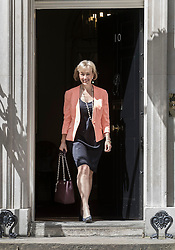 © Licensed to London News Pictures. 14/07/2016. London, UK. Newly appointed Secretary of State for the Department for Environment, Food & Rural Affairs Andrea Leadsom leaves Downing Street as Prime Minister Theresa May continues to make cabinet appointments on her first full day in office. Photo credit: Peter Macdiarmid/LNP