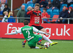 NEWTOWN, WALES - Saturday, May 2, 2015: Newtown's Stef Edwards in action against The New Saints during the FAW Welsh Cup final match at Latham Park. (Pic by Ian Cook/Propaganda)