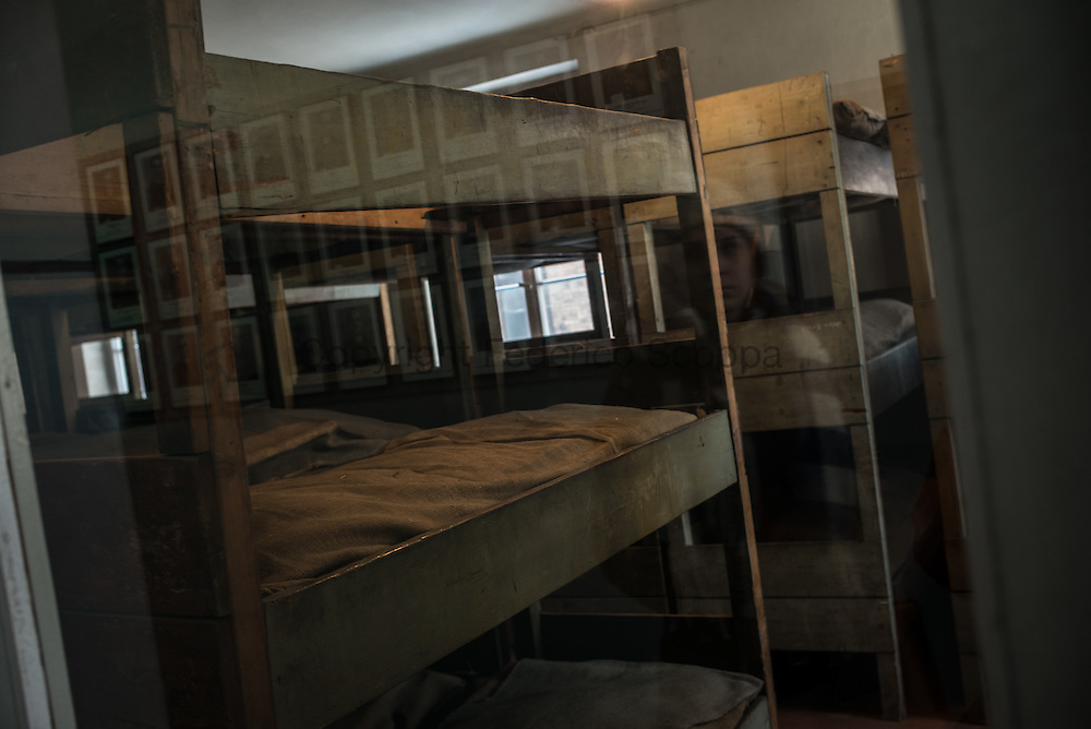 The wooden bunk beds used in the camps