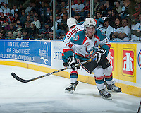 KELOWNA, CANADA - APRIL 3: Tyson Baillie #24 of the Kelowna Rockets skates against the Seattle Thunderbirds on April 3, 2014 during Game 1 of the second round of WHL Playoffs at Prospera Place in Kelowna, British Columbia, Canada.   (Photo by Marissa Baecker/Getty Images)  *** Local Caption *** Tyson Baillie;