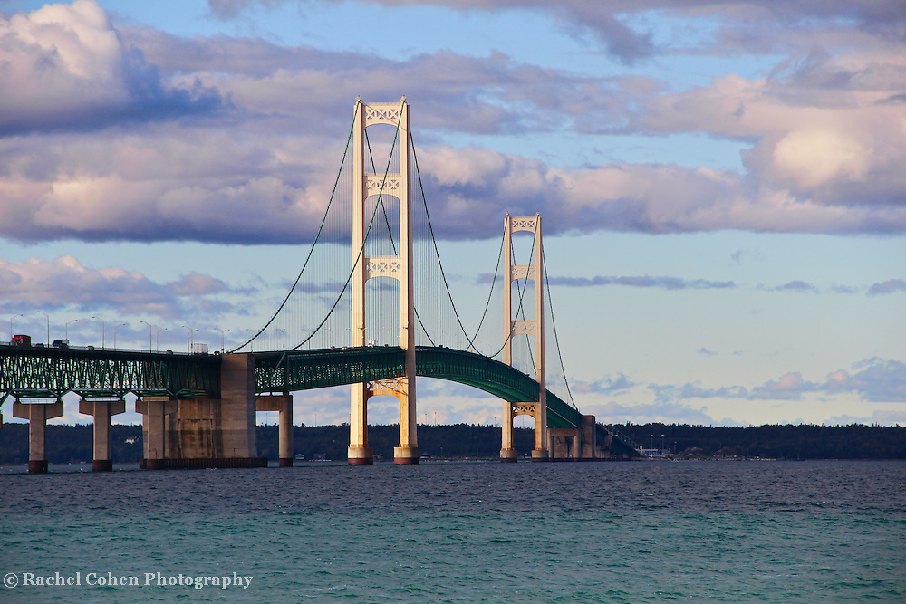 &quot;Along Mackinac Bridge&quot;<br /> <br /> A closer view of the beautiful Mackinac Bridge on a partly cloudy late afternoon. A gorgeous suspension bridge linking the lower part of Michigan to Michigan's Upper Peninsula!!<br /> <br /> Mackinac Bridge by Rachel Cohen