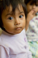 Jennifer Set, a 22-month-old Guatemalan child, at Casa Alegría, a foster home run by the Guatemalan government. Julia Set, a 20-year-old Mayan woman who lives in a small town near San Juan Sacatepéquez, Guatemala, says she sold her baby in August 2003 for 400 Quetzales (about U.S. $52) to a woman introduced to her by a midwife. Her baby and 8 others were found the next month in a Costa Rican house run by an unregistered adoption agency.