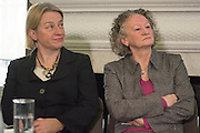 © Licensed to London News Pictures. 24/02/2015. London, UK. (L-R) Natalie Bennet, Leader of the Green Party, Jenny Jones AM Baroness Jones of Moulsecoomb.  The Green Party Campaign Launch ahead of the UK general election at RSA House in Central London today 24th February 2015. Photo credit : Stephen Simpson/LNP
