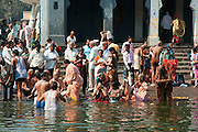 India, Maharashtra, Nashik ritual bathing in the holy the Godavari river