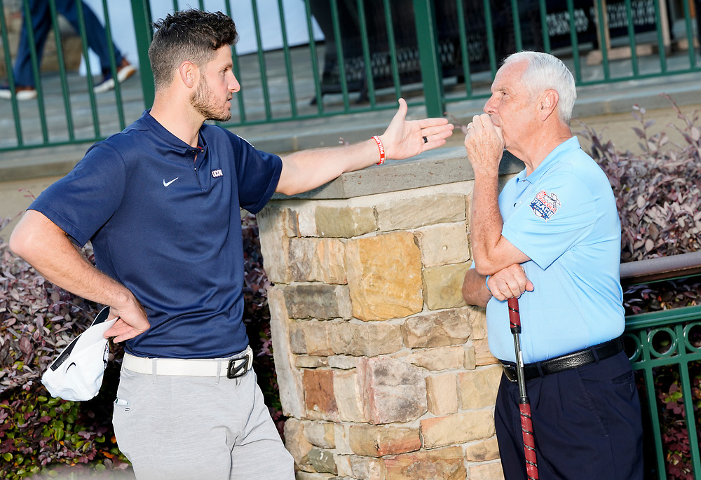 Former UConn quarterback Dan Orlovsky and North Carolina head basketball coach Roy Williams the Chick-fil-A Peach Bowl Challenge at the Ritz Carlton Reynolds, Lake Oconee, on Tuesday, April 30, 2019, in Greensboro, GA. (Paul Abell via Abell Images for Chick-fil-A Peach Bowl Challenge)