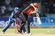 Ashton Agar of Perth Scorchers drives a delivery during match 19 of the Karbonn Smart Champions League T20 between the Perth Scorchers and the Mumbai Indians held at the Feroz Shah Kotla Stadium, Delhi on the 2nd October 2013<br /> <br /> <br /> Photo by Shaun Roy-CLT20-SPORTZPICS <br /> <br /> Use of this image is subject to the terms and conditions as outlined by the CLT20. These terms can be found by following this link:<br /> <br /> http://sportzpics.photoshelter.com/image/I0000NmDchxxGVv4