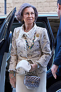 Queen Sofia of Spain attend Easter Mass at the Cathedral of Palma de Mallorca on April 1, 2018 in Palma de Mallorca, Spain