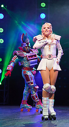 "© Licensed to London News Pictures. 11/05/2012. London, England. Amanda Coutts as Pearl and Mykal Rand as Electra. Andrew Lloyd Webber's rock musical ""Starlight Express"" opens at the New Wimbledon Theatre with a new cast before embarking on a UK tour. Choreography by Arlene Phillips. With Kristofer Harding as Rusty, Mykal Rand as Electra, Lothair Eaton as Poppa, Amanda Coutts as Pearl, Ruthie Stephens as Dinah, Kelsey Cobban as Duffy, Camilla Hardy as Buffy and Jamie Capewell as Greaseball. Photo credit: Bettina Strenske/LNP"