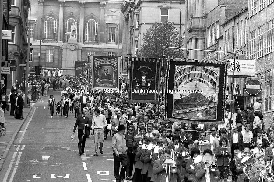 Ferrymoor Riddings, Dearne Valley and Royston Drift banners,1983 Yorkshire Miner's Gala. Barnsley