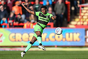 Forest Green Rovers Reece Brown(10) passes the ball forward during the EFL Sky Bet League 2 match between Exeter City and Forest Green Rovers at St James' Park, Exeter, England on 27 October 2018.