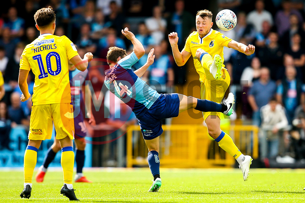 Ollie Clarke of Bristol Rovers takes on Dominic Gape of Wycombe Wanderers - Mandatory by-line: Robbie Stephenson/JMP - 18/08/2018 - FOOTBALL - Adam's Park - High Wycombe, England - Wycombe Wanderers v Bristol Rovers - Sky Bet League One
