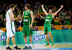 Matjaz Smodis of Slovenia, Simas Jasaitis of Lithuania and Mantas Kalnietis of Lithuania after the basketball game between National basketball teams of Slovenia and Lithuania at of FIBA Europe Eurobasket Lithuania 2011, on September 15, 2011, in Arena Zalgirio, Kaunas, Lithuania. Lithuania defeated Slovenia 80-77.  (Photo by Vid Ponikvar / Sportida)