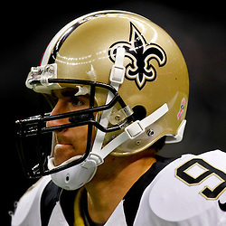October 7, 2012; New Orleans, LA, USA; New Orleans Saints quarterback Drew Brees (9) prior to kickoff of a game against the San Diego Chargers at the Mercedes-Benz Superdome. Mandatory Credit: Derick E. Hingle-US PRESSWIRE